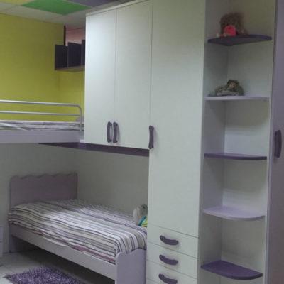 Cameretta Bianco e Lilla a Soppalco - Arredamenti Saija - Messina