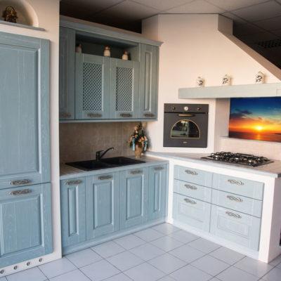Cucina in Finta Muratura Ante Decapé Azzurro - Arredamenti Saija - Messina